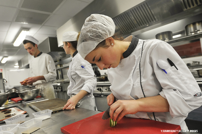 Des futurs grands chefs dans un restaurant d'application