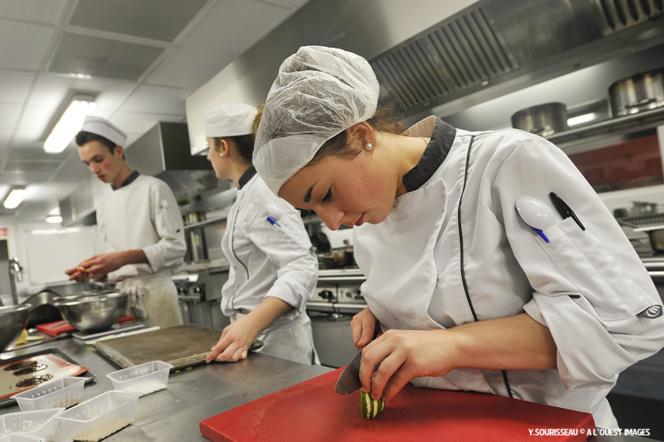 Des futurs grands chefs dans un restaurant d'application