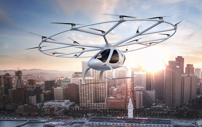 Le Volocopter en vol (Photo Volocopter GMBH)