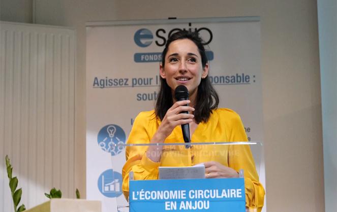 la Secrétaire d'État auprès du ministre de la Transition écologique et solidaire, Brune Poirson lors de son intervention à l'ESAIP Angers