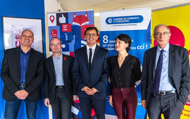 Le comité de pilotage de la 3e Connected Week ( de G à D - J. QUESSADA (Ensam - Université d'Angers), M. Perrinet (Coop AFT), E. Grellier (CCI 49), C. Nebbula (Ville d'Angers) et JP Bernheim (Aldev)