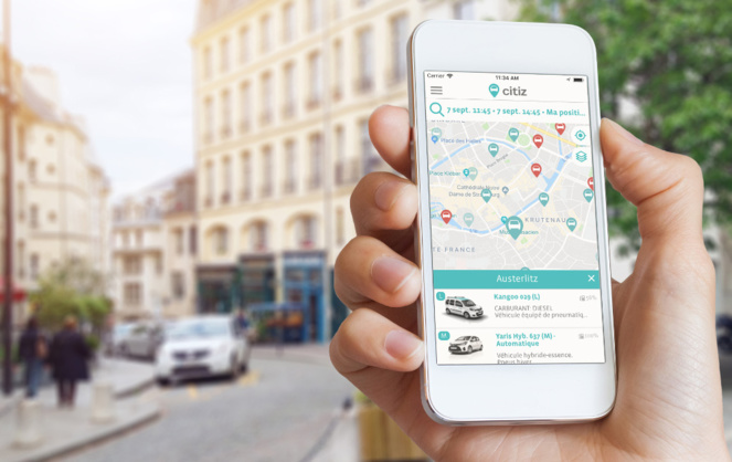 Les voitures en free floating accessible depuis une application (photo Citiz Coop)