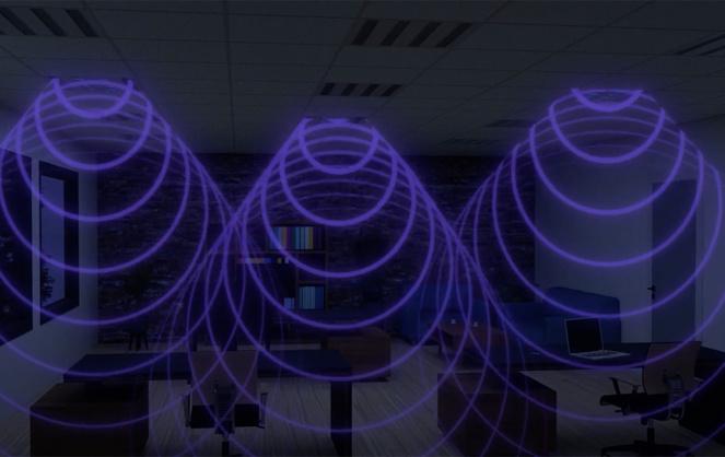 Le luminaire germicide de Dietal entre en action la nuit, pour nettoyer toutes les surfaces pouvant être infectées (photo extraite de la vidéo de présentation Dietal)