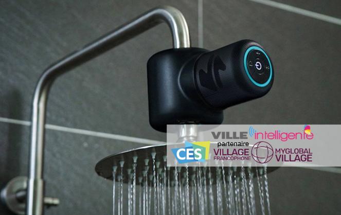 Shower Power de Ampere (Etats-Unis), une enceinte musicale fabriquée avec des produits recyclés qui permet d'écouter de la musique sous la douche (Photo Ampère)