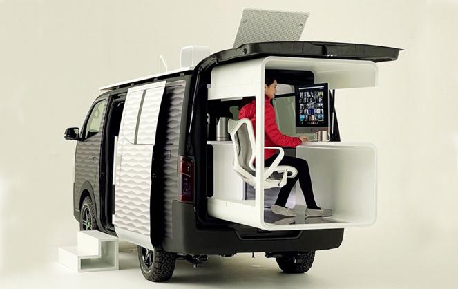 Le bureau mobile pour télétravailleur selon Nissan (Photo Nissan)