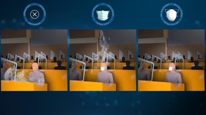 Analyse de l'efficacité des différents types de masques à porter (photo Dassault Systèmes)