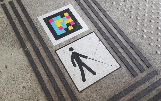 QR code Nagilens posé sur le sol (Photo Keolis île-de-France)