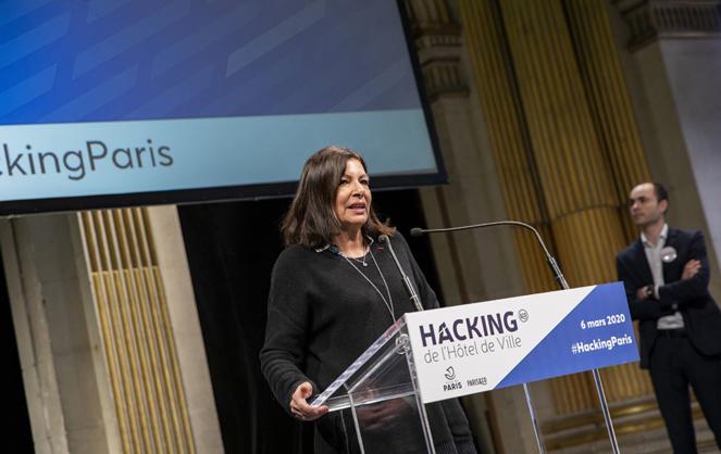 La Maire de Paris, Anne Hidalgo lors de l'ouverture de la 6e édition du Hacking de la Ville de Paris (Photo Paris&Co)