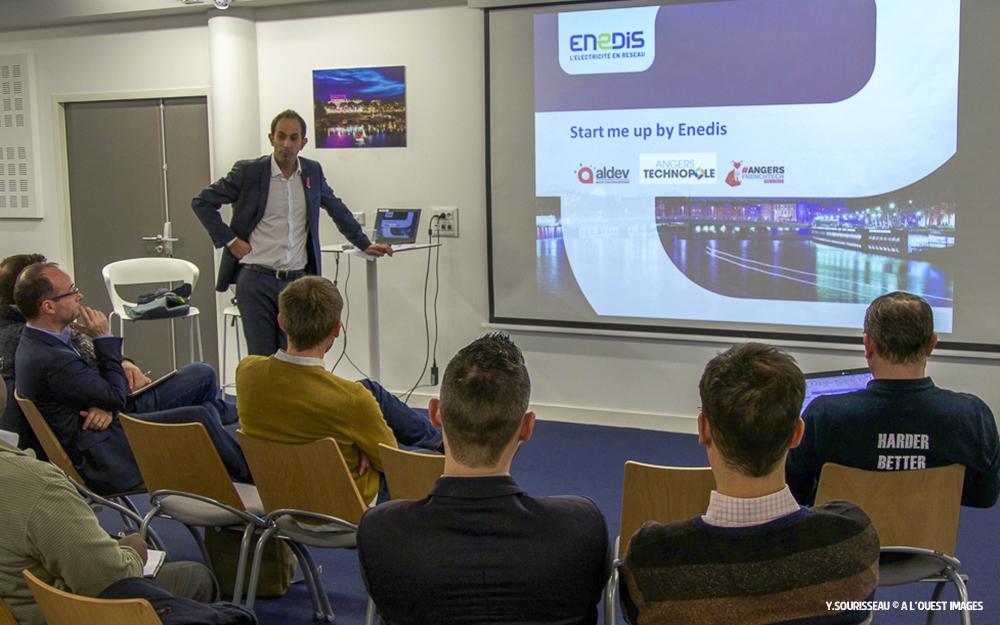 Enedis a présenté son appel à projet à la Wise Factory d'Angers à un parterre de jeunes entreprises intéressées