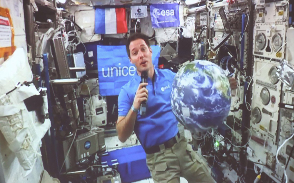 Thomas Pesquet lors de la retransmission (photo extraite de la vidéo de l'opération)