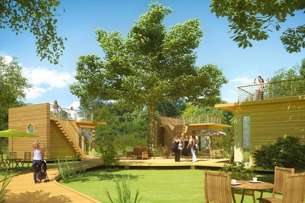 un exemple d'habitat groupé en construction bois (crédit photo Maisons Écoé)