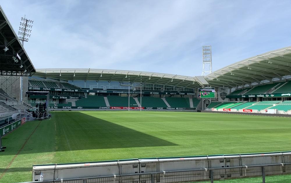 Le stade de la section Paloise de Rugby lors de l'installation des hotspots WiFi