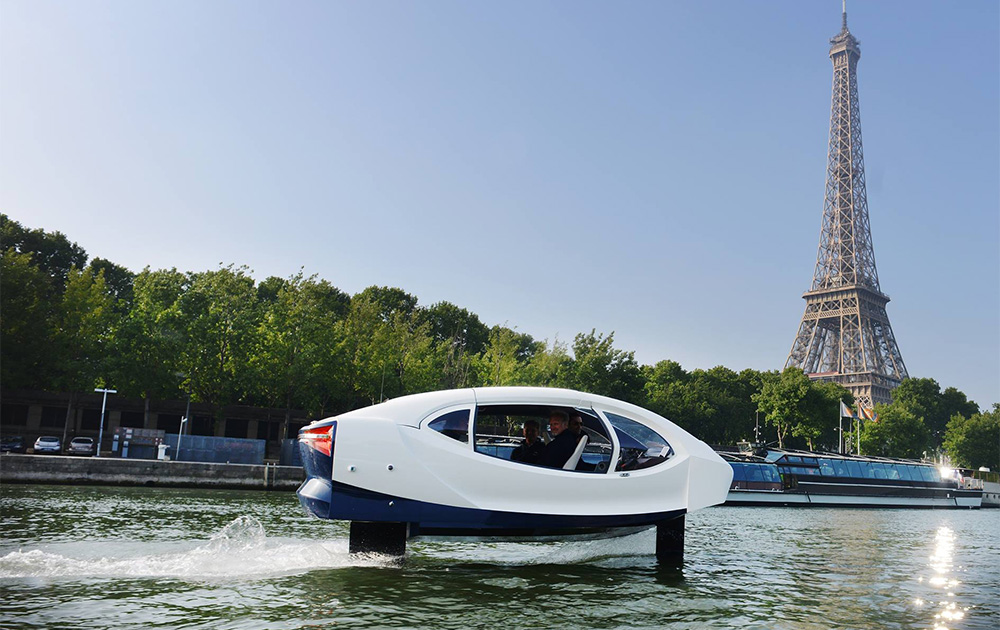 Les navettes SeaBubbles, lors des premiers essais réalisés sur la Seine en 2017 et 2018 (Photo SeaBubbles)