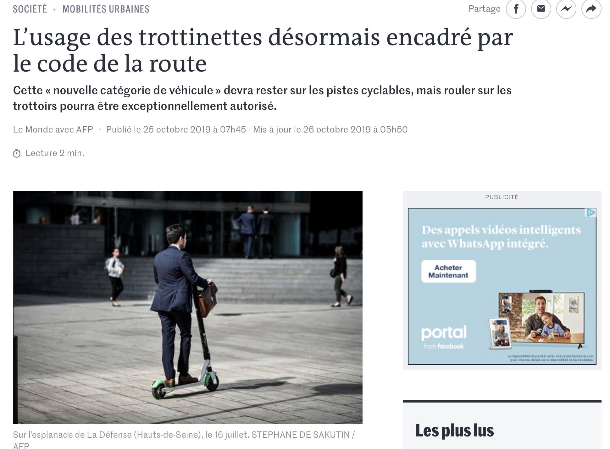 """Le Monde : """" L'usage des trottinettes désormais encadré par le code de la route """""""