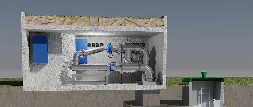 Vue en coupe de la station de traitement UV de Mulhouse (image de synthèse Bio-UV Group)