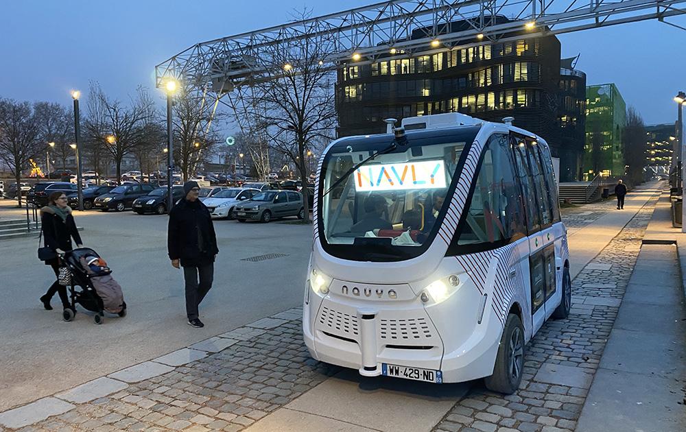 La navette autonome, ici à Lyon, une solution de mobilité. (Photo A l'Ouest Images)