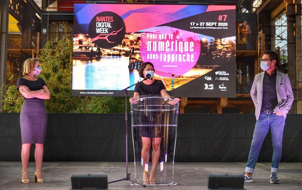 Johanna Rolland et Francky Trichet lors de l'ouverture de la Nantes Digital Week (photo fil Twitter F. Trichet)