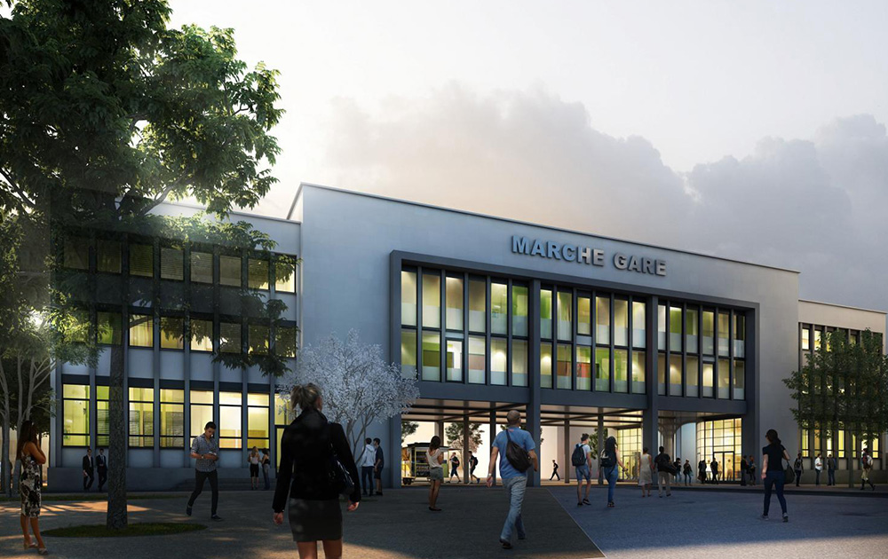 L'esquisse du nouveau Marché Gare qui ouvrira ses portes en 2022 (Atelier Carte Blanche Architectes - Infographie Olivier Sidler)