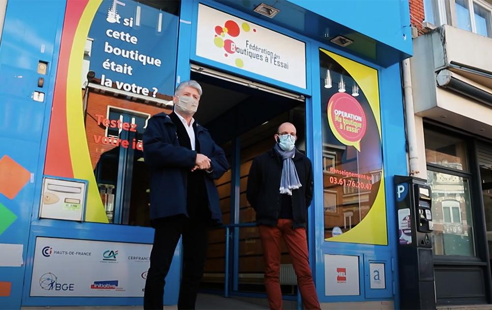 Boutique à l'essai inaugurée à Armentières (Nord), en avril 2021 (Photo extraite d'un reportage réalisé par Armentières Web TV).