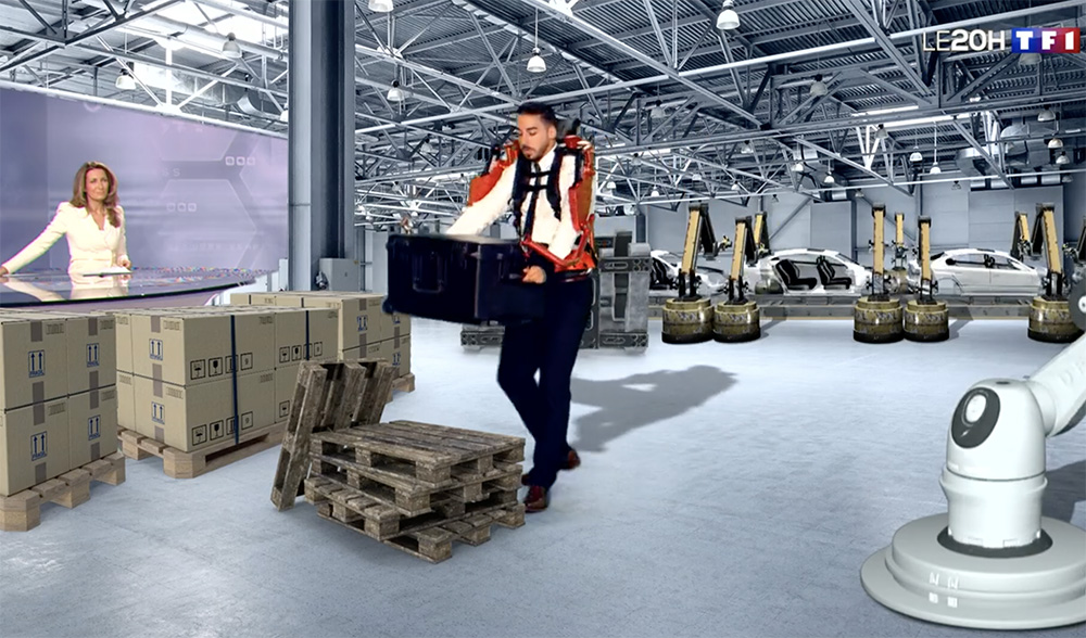 Le plateau du JT de TF1, transformé en usine virtuelle grâce à l'intervention de Kinetix (Photo extraite du journal TV de TF1)